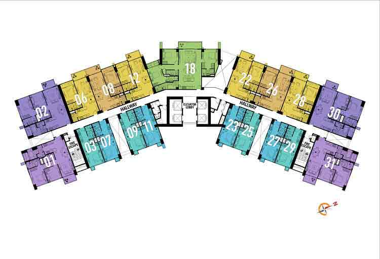8th, 16th, 22nd, 29th, and 36th Floor Plan