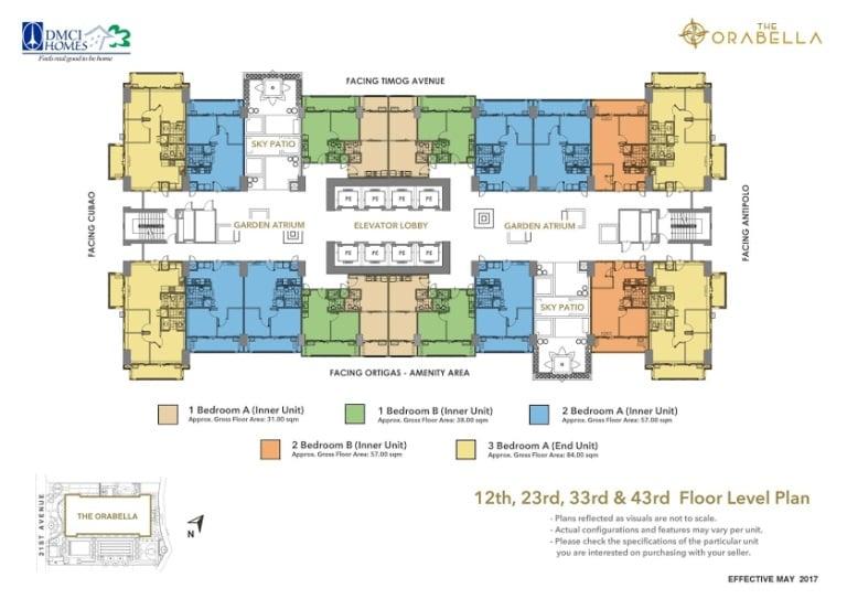 12th, 23rd, 33rd & 43rd Floor Level Plan