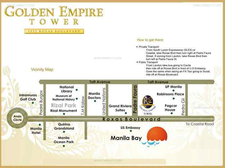 Golden Empire Tower Moldex Realty Condo For Sale In Manila - Map location of us embassy manila