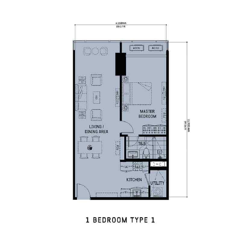 1 Bedroom Unit Type 1