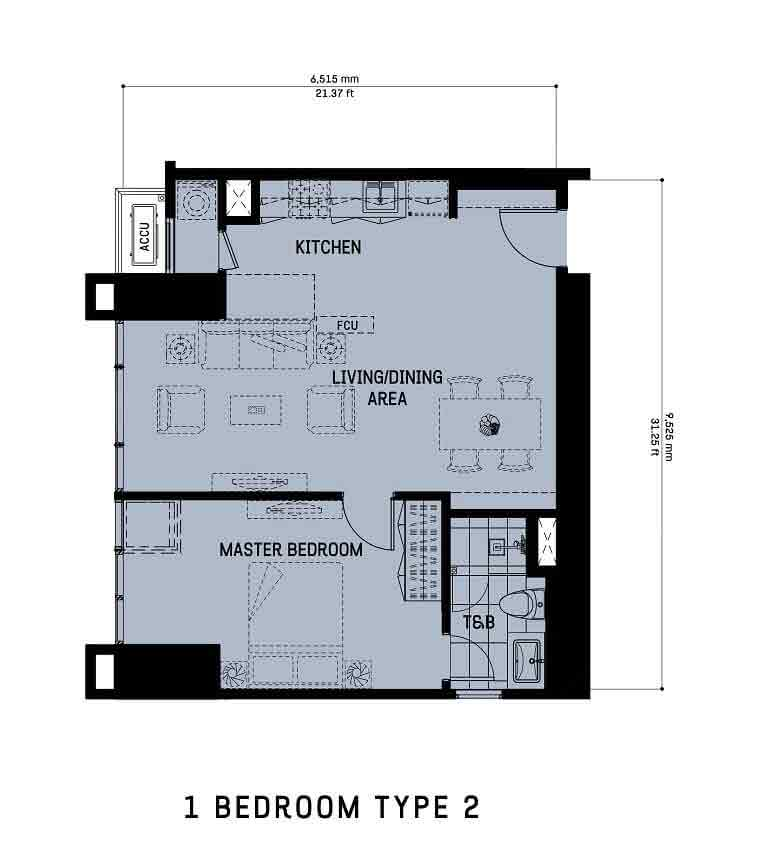 1 Bedroom Unit Type 2