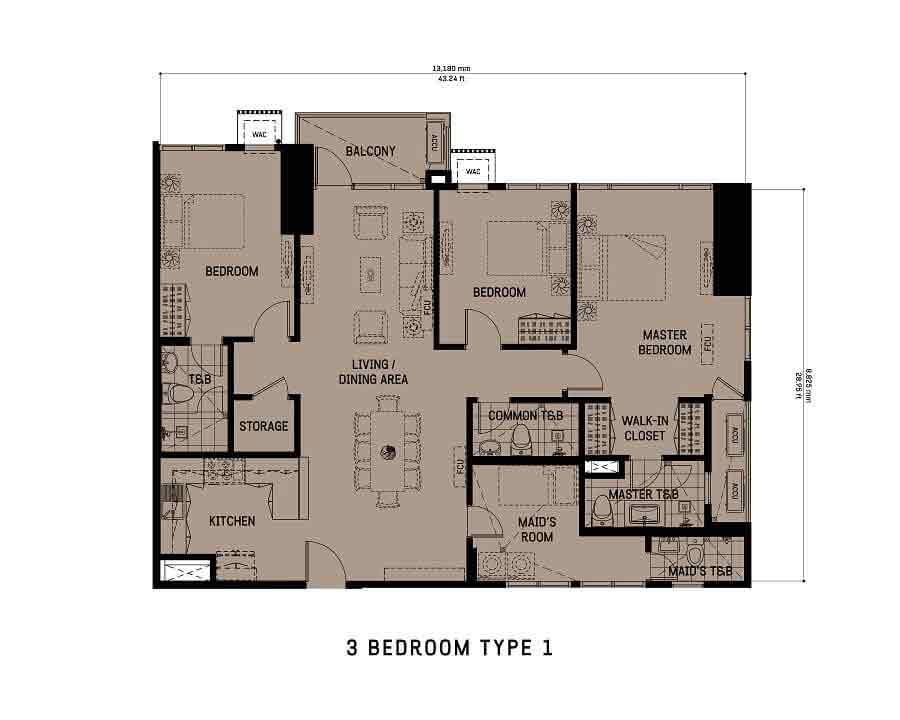 3 Bedroom Unit Type 1