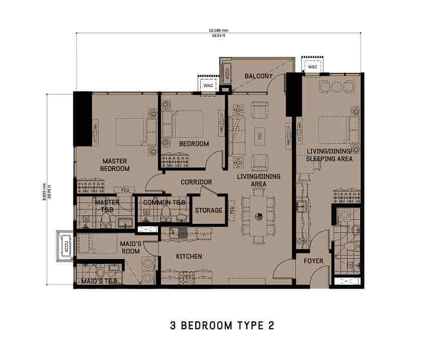 3 Bedroom Unit Type 2