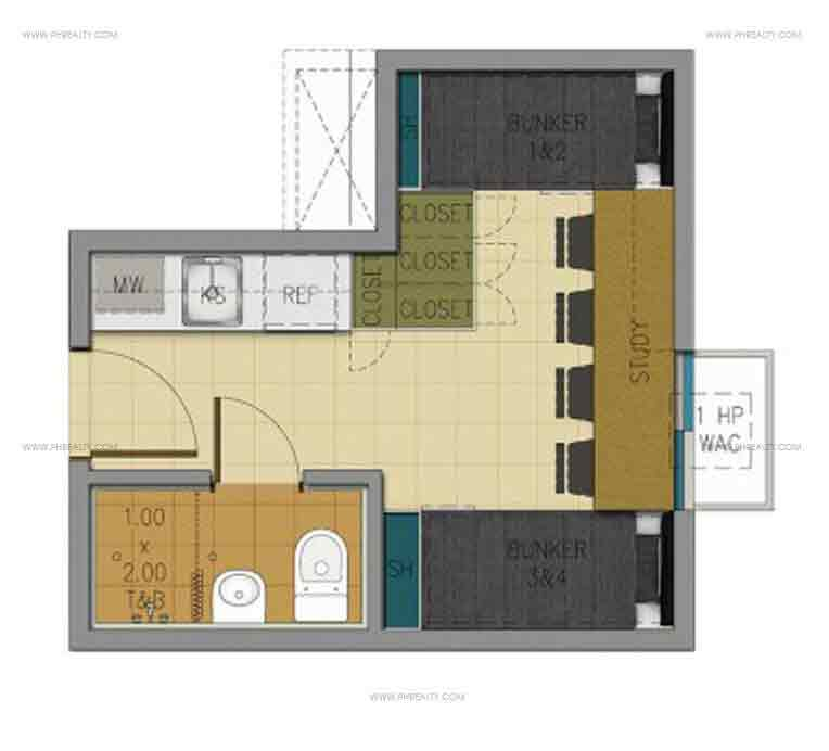 17 sqm unit layout