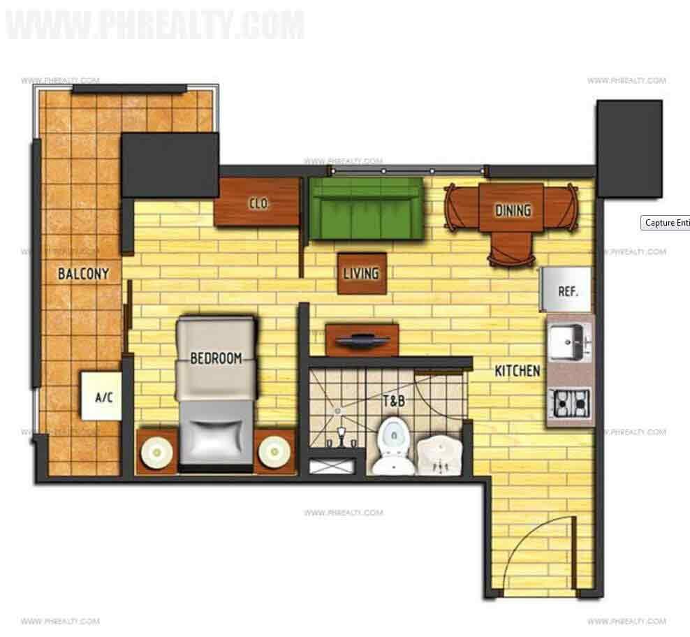1 Bedroom Cornered Unit Type A1 Bedroom Cornered Unit Type B