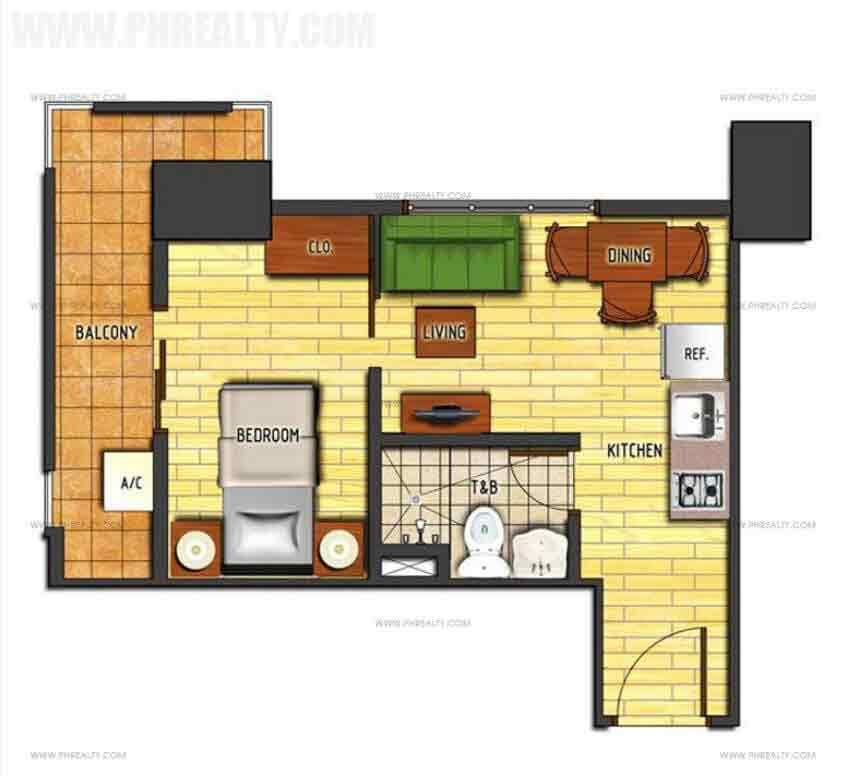 1 Bedroom Cornered Unit Type B