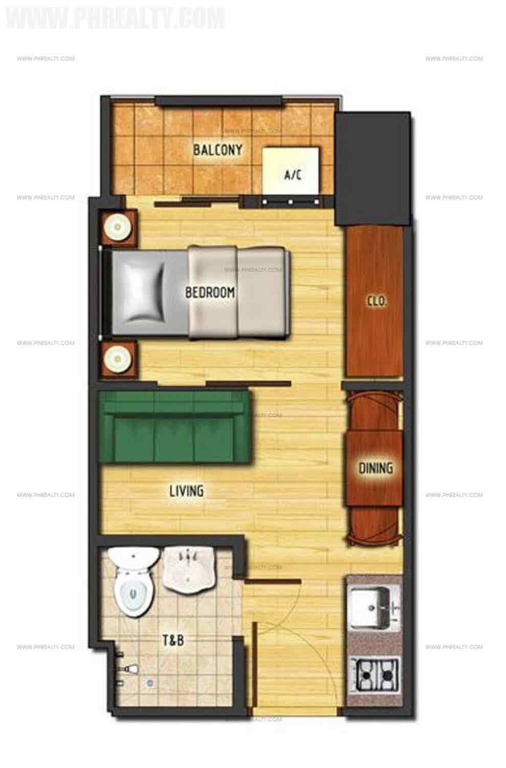 1 Bedroom Cornered Unit Type A