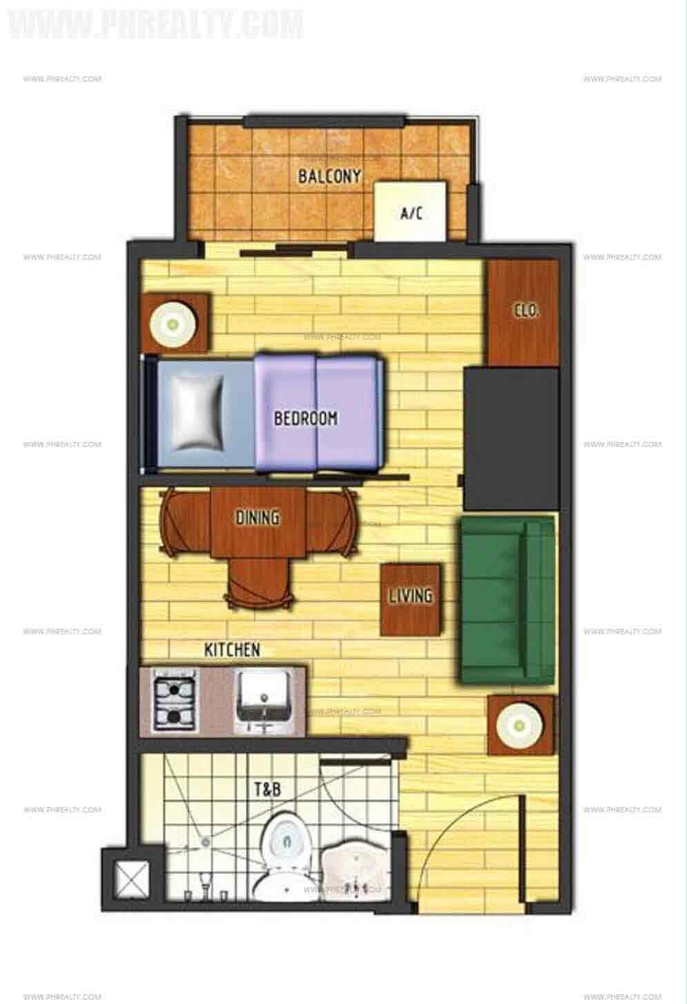 1 Bedroom Cornered Unit Type C