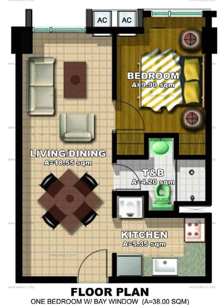 1 Bedroom with Bay Window