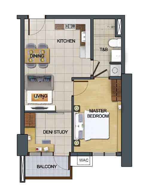 1 Bedroom with Den and Balcony