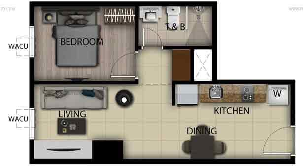 1 Bedroom Loft Unit B,H,J,P