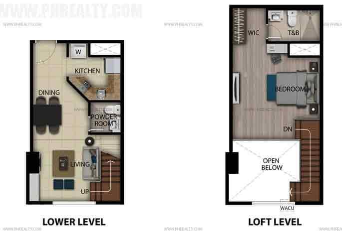 1 Bedroom Loft Unit F,G