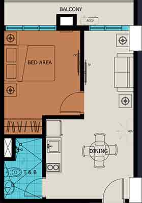 1 Bedroom with Balcony Unit Plan
