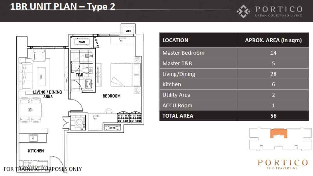 One Bedroom Unit Plan - Type 2
