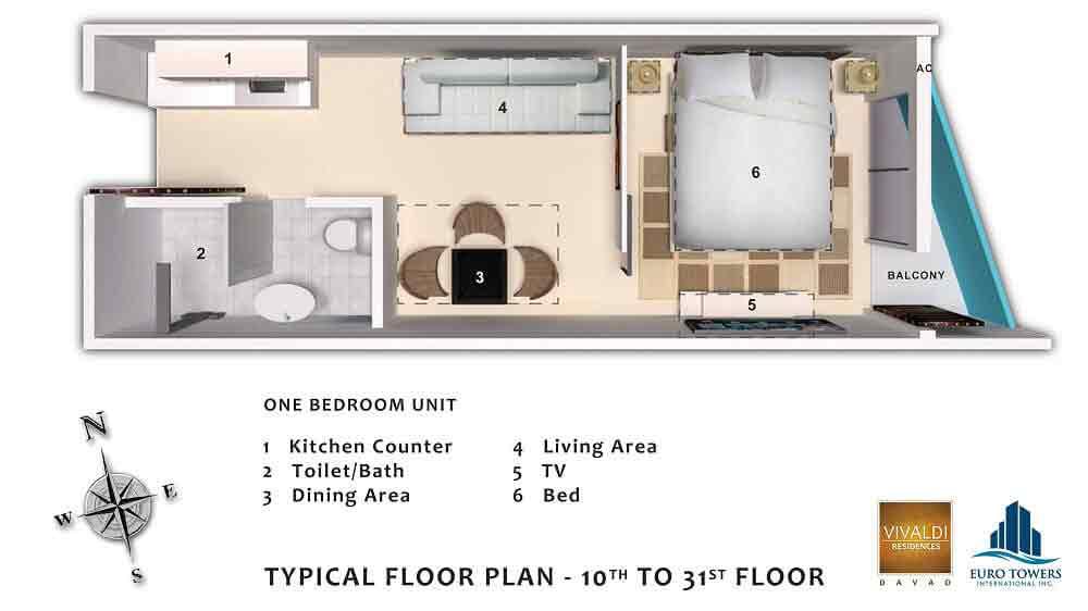 One Bedroom Unit - Typical Floor Plan