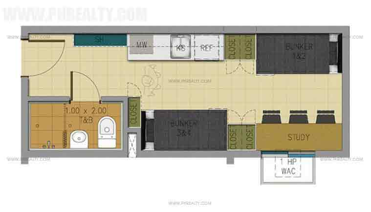 20 sqm unit layout
