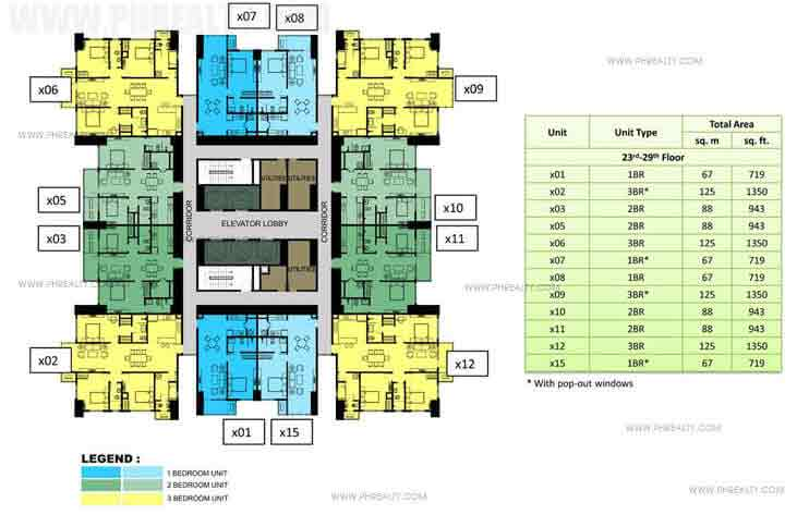 23rd to 29th Floor Plan (30x30)