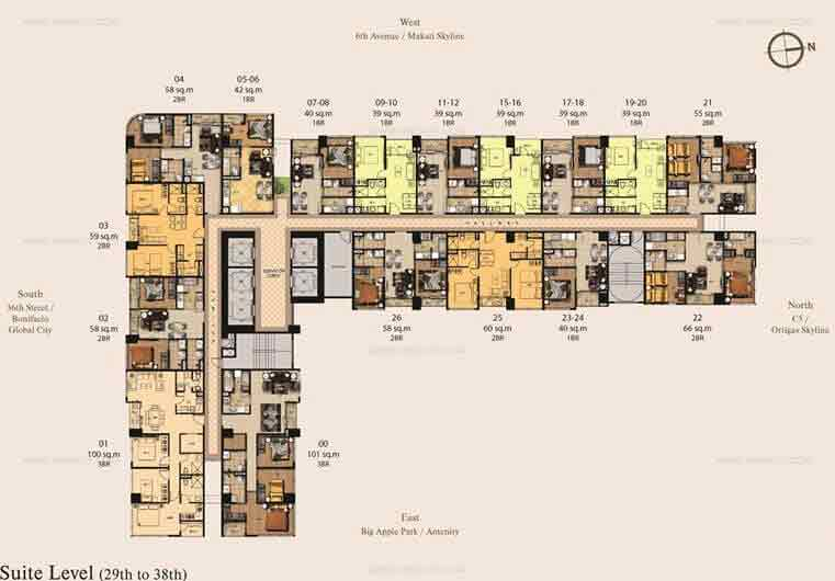 29th-38th Floor Plan