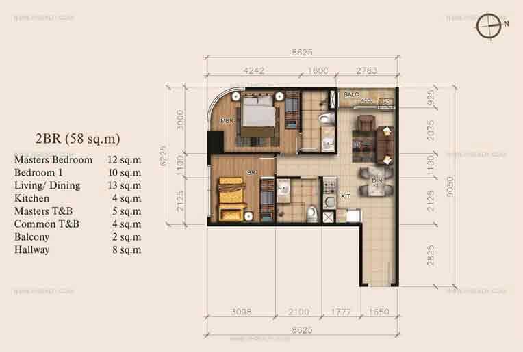 2 BR Floor Plan