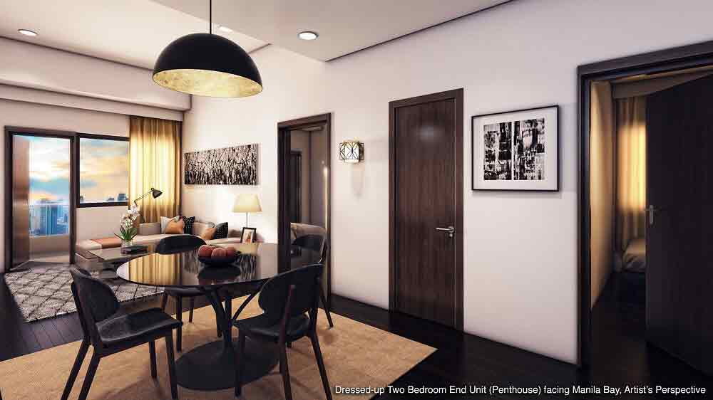 2 - Bedroom End Unit (Penthouse) Facing Manila