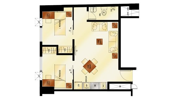 2 - Bedroom Floor Plan