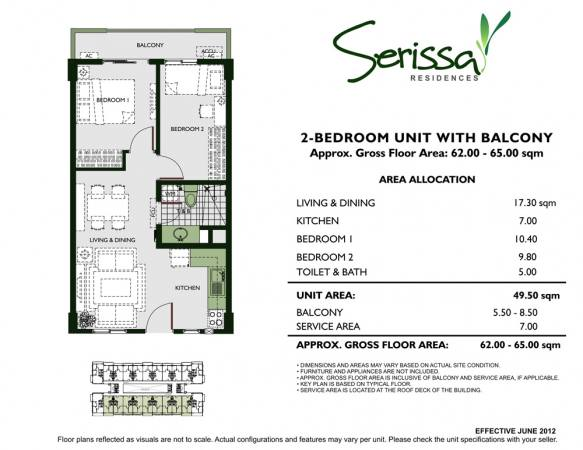 2 - Bedroom Unit with Balcony