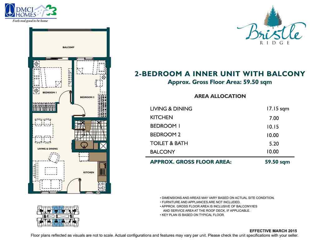 2 Bedroom - Inner Unit with Balcony