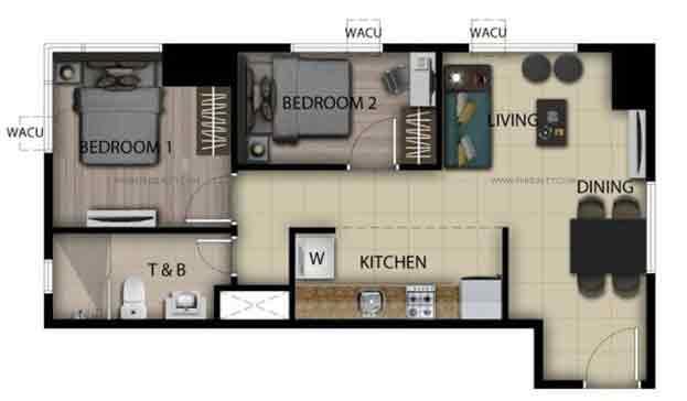 2 Bedroom Loft Unit D,K,R,Y