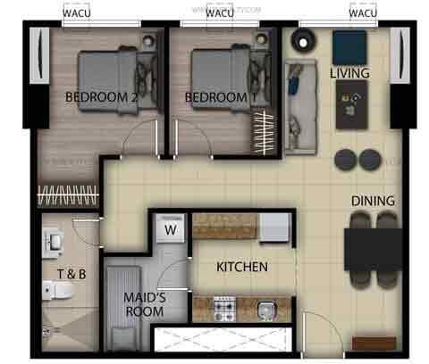 2 Bedroom Loft Unit E,M