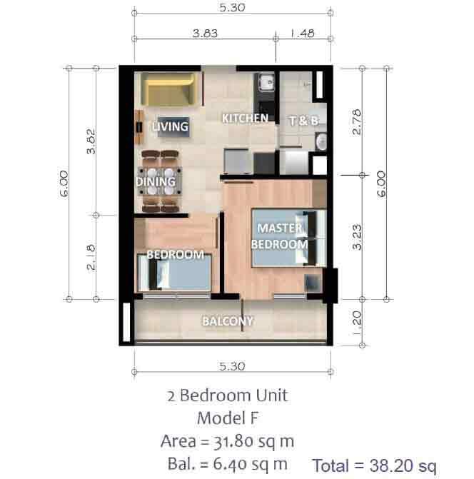2 Bedroom Unit - Model F