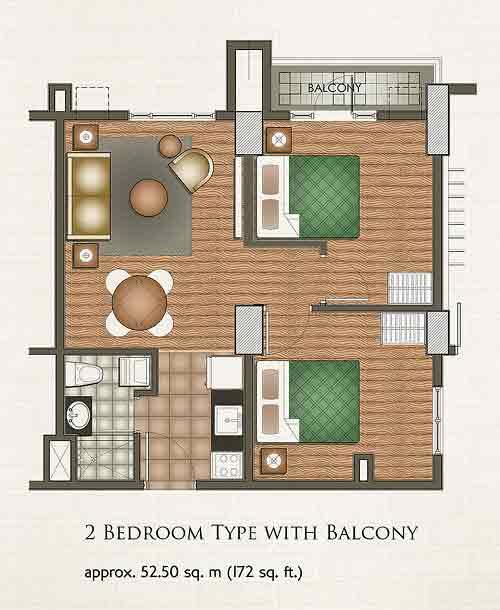 2 Bedroom Type with Balcony