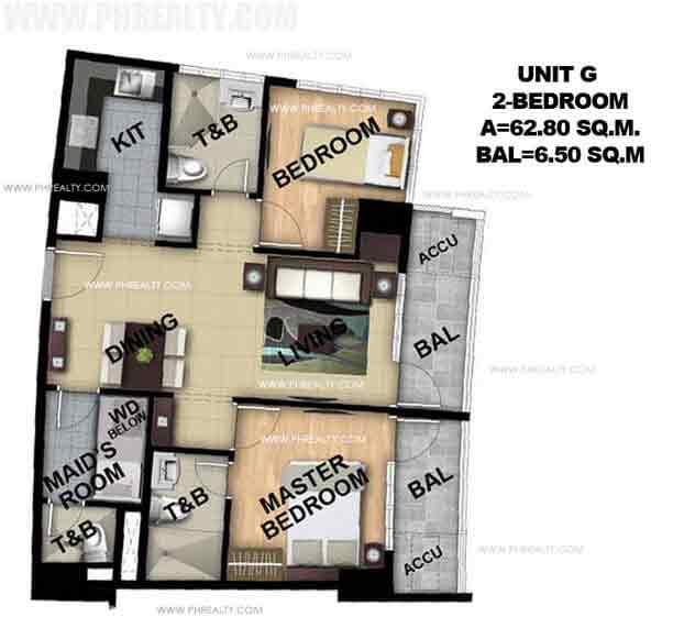 Unit G 2 Bedroom