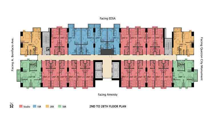 2nd to 28th Floor Plan