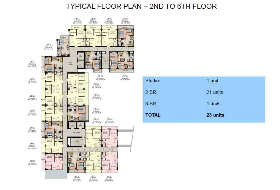 Typical Floor Plan : 2nd to 6th Floor