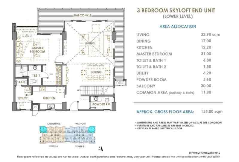 DMCI Oak Harbor 3 Bedroom Skyloft End Unit Lower Level