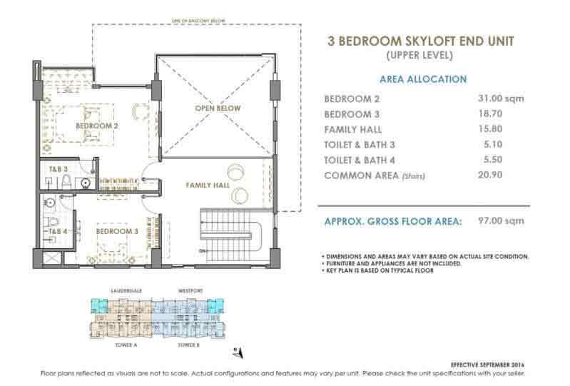 DMCI Oak Harbor 3 Bedroom Skyloft End Unit Upper Level