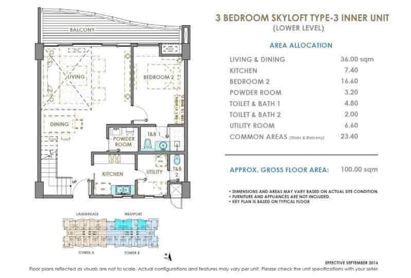 DMCI Oak Harbor 3 Bedroom Skyloft Type 3 Inner Unit