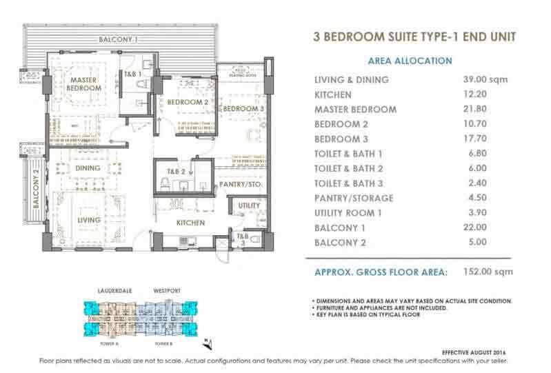 DMCI Oak Harbor 3 Bedroom Skyloft Type 1 End Unit