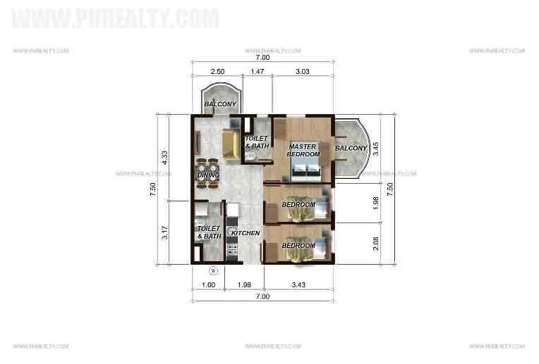 3 BR Unit Model A