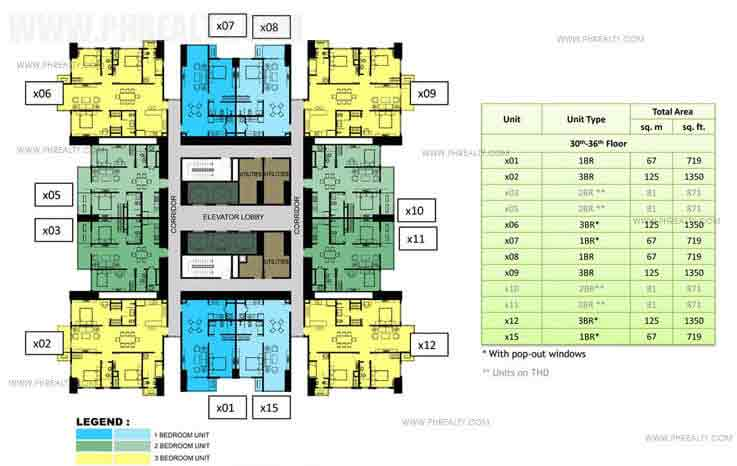 30th to 36th Floor Plan (30x30)