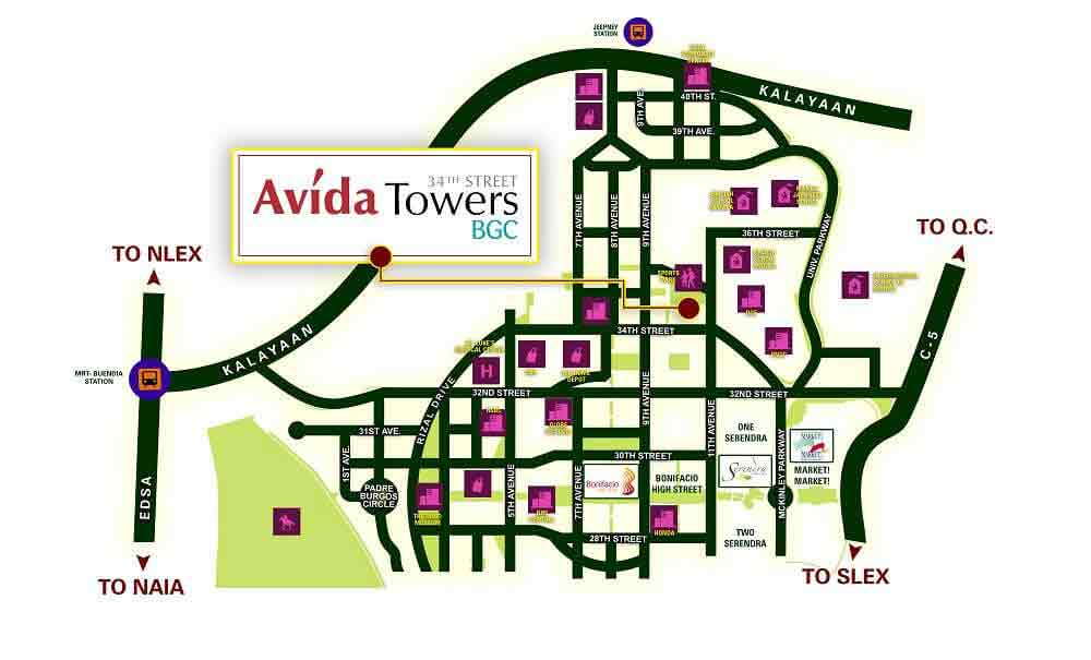 Avida Towers 34th street BGC Location