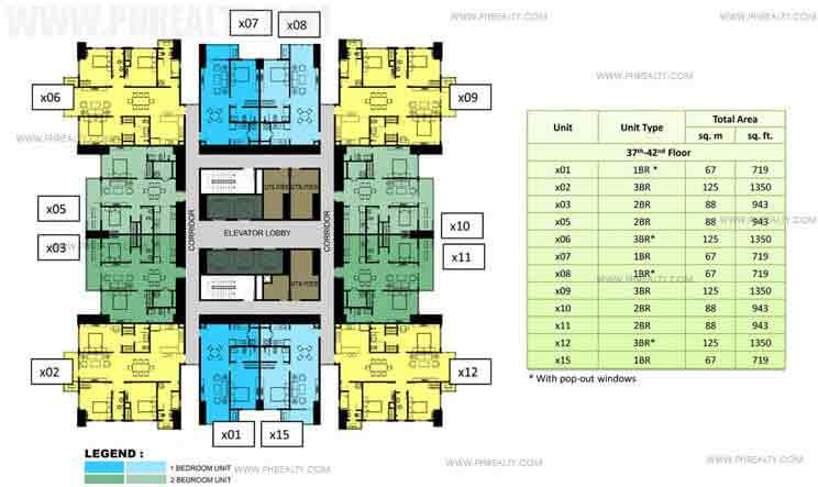 37th to 42nd Floor Plan (30x30)