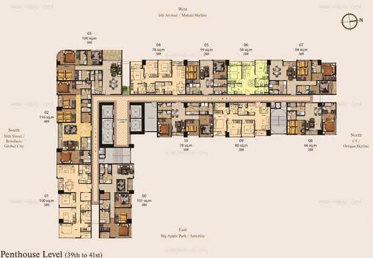 39th-41st Floor Plan