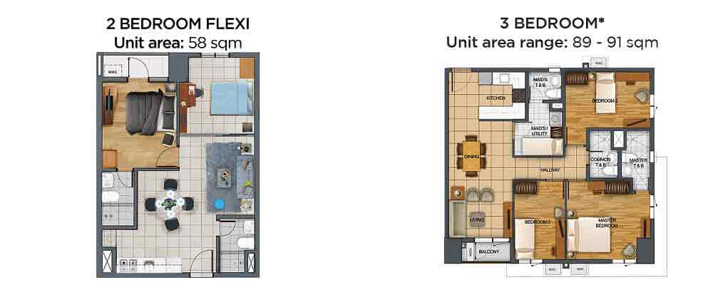 2 BR Flexi and 3 BR Unit