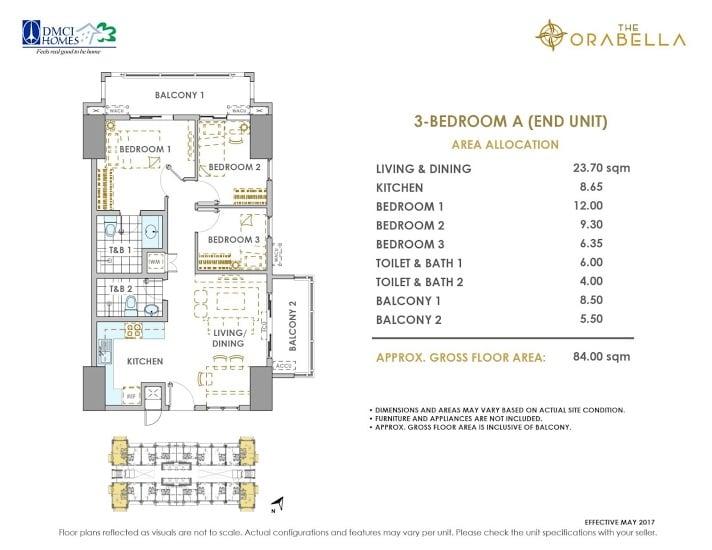 3 - Bedroom A ( End Unit )