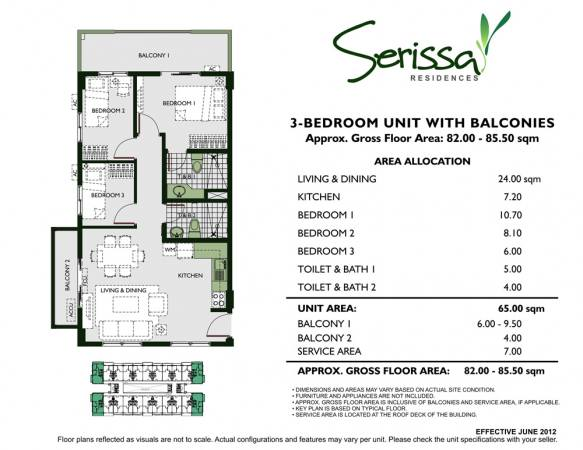 3 - Bedroom Unit with Balconies