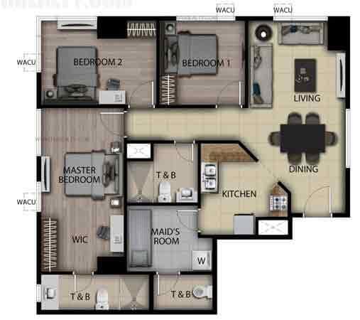 3 Bedroom Loft Unit C,G,K,O