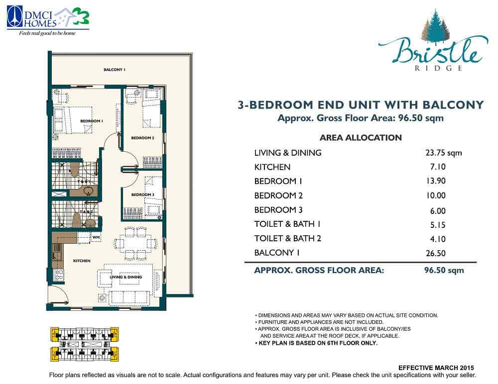 3 Bedroom - End Unit with Balcony