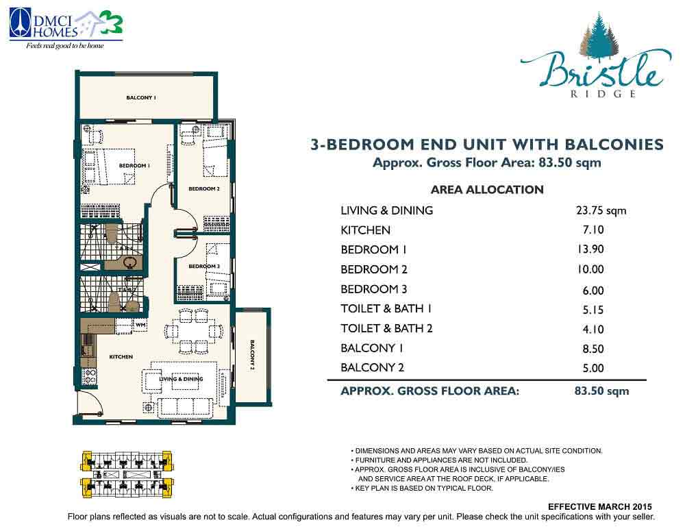 3 Bedroom - End Unit with Balconies