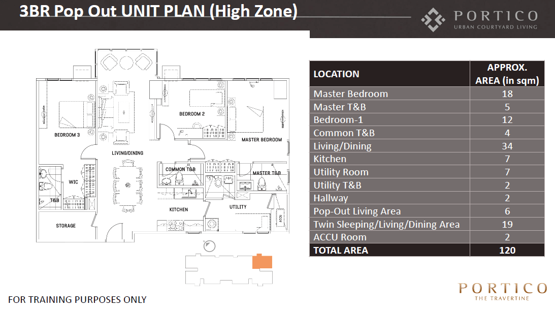 Three Bedroom Unit - Pop Out Plan